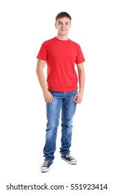 Handsome young man in blank red t-shirt on white background