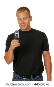 A handsome young man with a cell phone camera