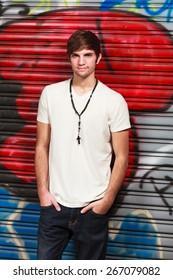 Handsome young man fashion portrait.