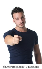Handsome young man gesturing with his hand, pointing finger at you, isolated on white