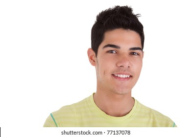 Handsome young man with happy face. Isolated on white background, studio shot.