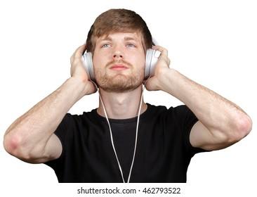 Handsome young man in headphones