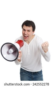 handsome young man isolated on white shouts in loudspeaker