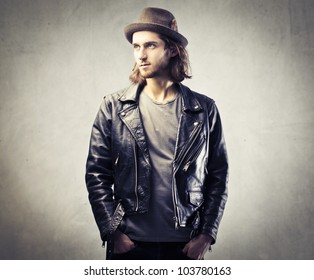 Handsome young man in leather jacket
