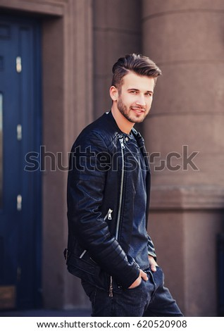 Handsome Young Man Leather Jacket Posing Stock Photo Edit Now