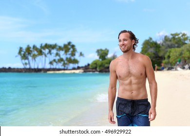 2f68a8f1ed Handsome young man looking away on summer beach vacation. Portrait of an  attractive caucasian male