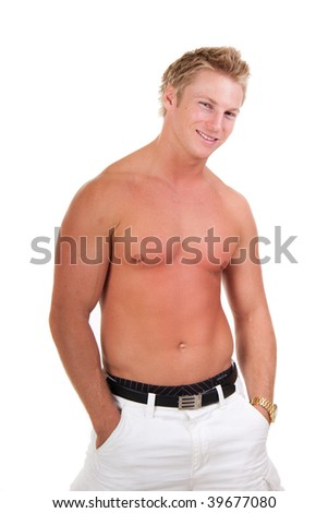 Handsome Young Man No Shirt Isolated Stock Photo Edit Now 39677080