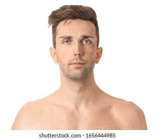Handsome young man on white background. Plastic surgery concept