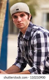 Handsome young man outdoor portrait.