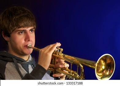 Handsome young man Playing trumpet.