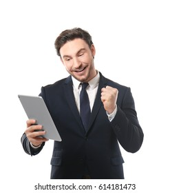 Handsome young man posing with tablet on white background
