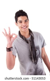 Handsome young man with positive attitude. Isolated on white background. Studio shot.