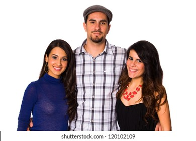 Handsome young man and pretty young women on a white background.