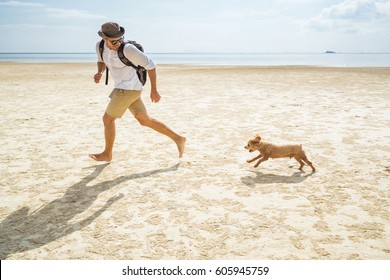 Handsome young man smiling and running with his dog on the beach. Running man. Male runner jogging with dogs during the sunset on beach.