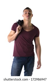 Handsome young man with t-shirt and jeans, isolated on white