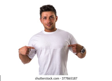 Handsome young man wearing white t-shirt, isolated on white background. Copyspace on garment for logos or text