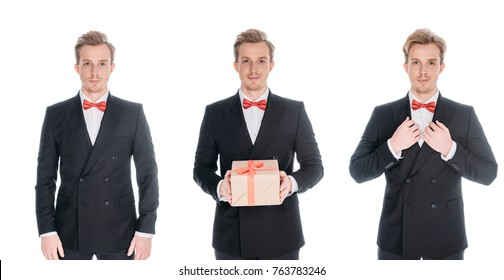 handsome young men in stylish suits with present looking at camera isolated on white