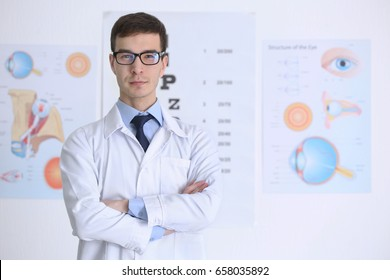 Handsome young ophthalmologist in clinic