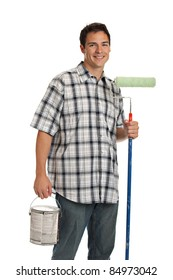 Handsome Young Painter Holding Roller and Bucket of Paint on Isolated Background
