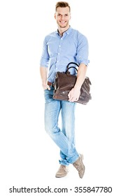 Handsome young student with laptop bag - isolated on white background