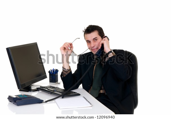 Handsome young successful businessman making phone call, service center,  white background,  studio shot.