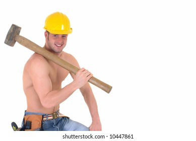 Handsome young topless construction worker with sledge hammer,  studio shot,  white background