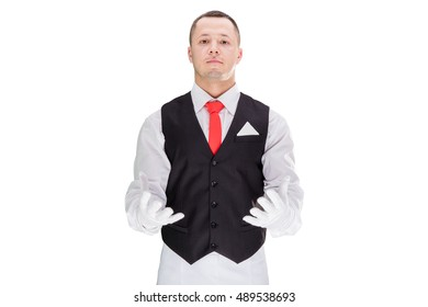 Handsome young waiter in gloves and red cravat . High resolution. isolated on white background