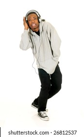 Handsome youngster, black African American teenager with headset, hip hop urban culture.  Studio white background