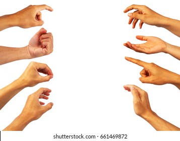 hands's collection of asian's hands in various gesture on white background.