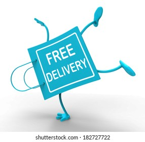 Handstand Free Delivery Shopping Bag Showing No Charge Or Gratis To Deliver