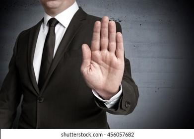Handstop showed by businessman.