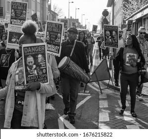 Handsworth, Birmingham / UK - March 30th 2019: Justice For Kingsley march through Birmingham.