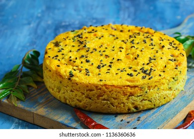 Handwa or Handvo - Gujarati snack cake with rice  and spices, selective focus