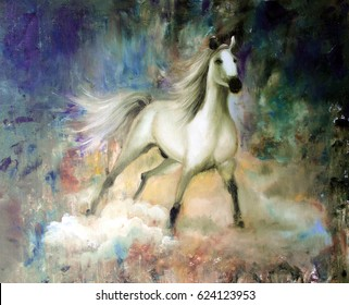 Handwork oil illustration.  White horse on a mystical abstract background