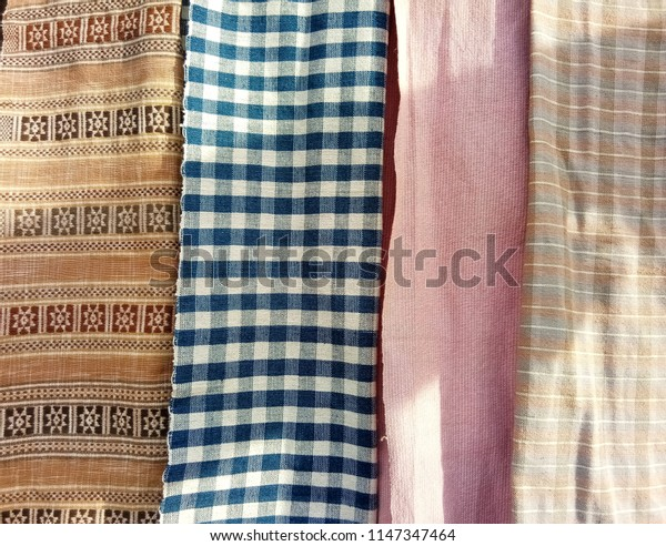 Hand-woven cotton natural dyes.