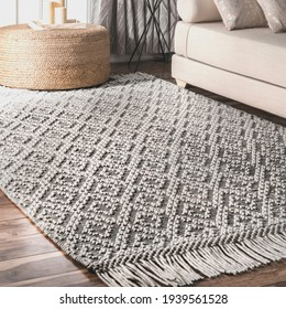 Handwoven geometric carpet with Typical pattern.