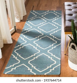 Handwoven rug in modern Abstract style.