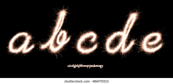 handwriting character Alphabet a,b,c,d,e made of sparklers font isolated on black background
