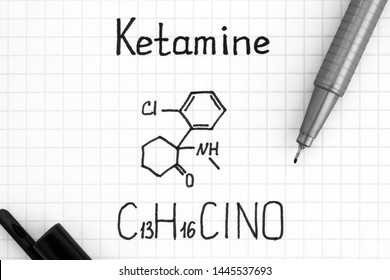 Handwriting Chemical formula of Ketamine with black pen. Close up.