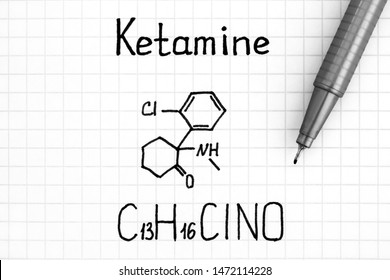 Handwriting Chemical formula of Ketamine with pen. Close up.