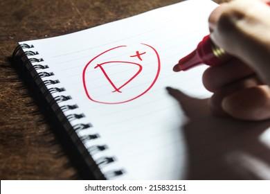 Handwriting Grade D Plus on Notebook