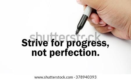 Handwriting Inspirational Motivation Quotes Strive Progress Stock
