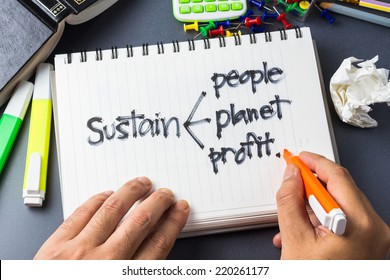 Handwriting of Sustainability development concept in notebook