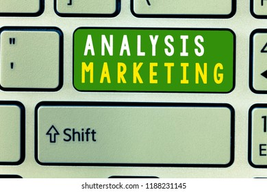 Handwriting text Analysis Marketing. Concept meaning Quantitative and qualitative assessment of a market