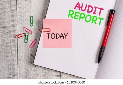 Handwriting text Audit Report. Concept meaning An appraisal of complete financial status of a business Assets Thick pages notebook stationary placed above classic look wooden backdrop.
