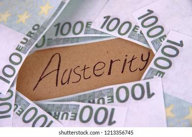 Handwriting text Austerity. Crisis economy concept.