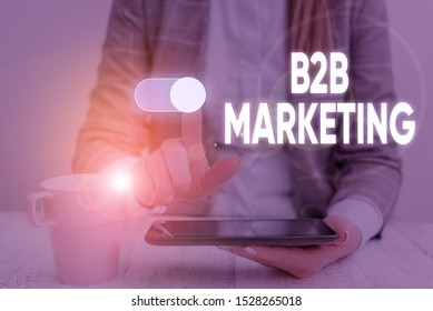 Handwriting text B2B Marketing. Concept meaning Partnership Companies Supply Chain Merger Leads Resell Woman wear formal work suit presenting presentation using smart device.