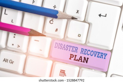 Handwriting text Disaster Recovery Plan. Concept meaning having backup measures against dangerous situation White pc keyboard with empty note paper above white background key copy space.