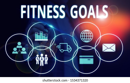Handwriting text Fitness Goals. Concept meaning Loose fat Build muscle Getting stronger Conditioning Woman wear formal work suit presenting presentation using smart device.