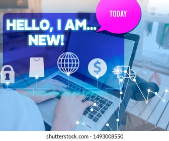 Handwriting text Hello I Am New. Concept meaning used greeting or begin telephone conversation woman icons computer speech bubble office supplies technological device.